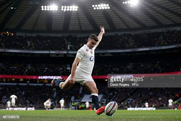 George Ford of England kicks at goal during the RBS Six Nations match between England and France at Twickenham Stadium on March 21 2015 in London...