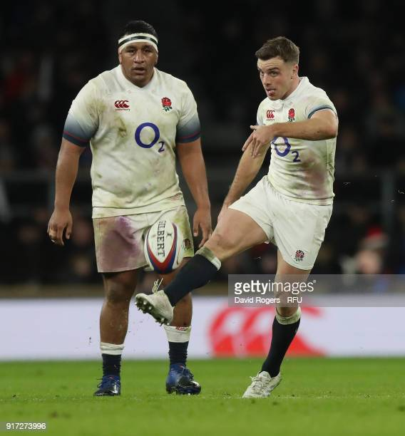 George Ford of England kicks the ball upfield watched by Mako Vunipola during the NatWest Six Nations match between England and Wales at Twickenham...