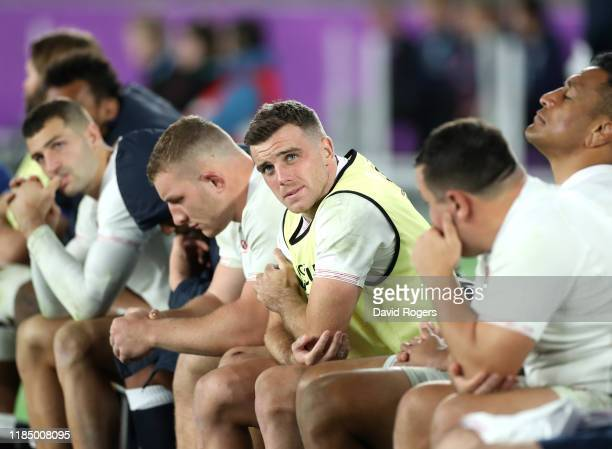 George Ford of England looks dejected on the bench after his side conceded a second try during the Rugby World Cup 2019 Final between England and...
