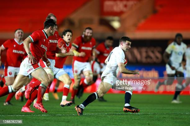 George Ford of England makes a break during the Autumn Nations Cup match between Wales and England at Parc y Scarlets on November 28, 2020 in...
