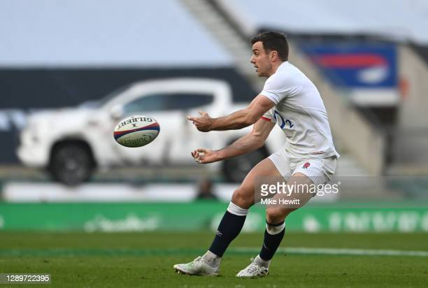 George Ford of England offloads during the Autumn Nations Cup Final & Quilter International between England and France at Twickenham Stadium on...