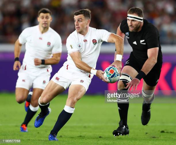 George Ford of England passes the ball that led to the first try during the Rugby World Cup 2019 SemiFinal match between England and New Zealand at...