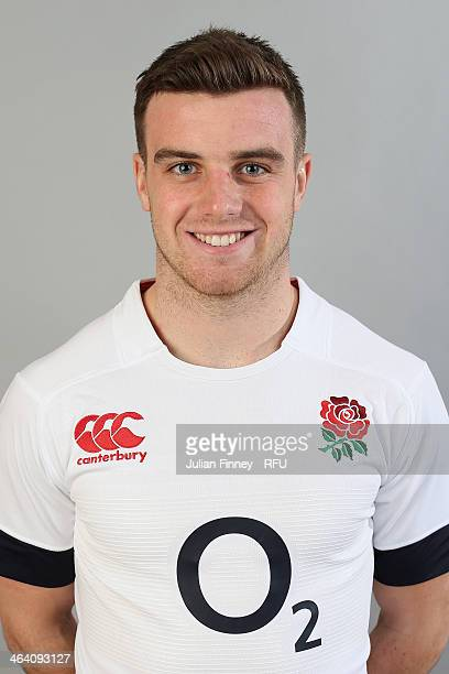 George Ford of England poses for a portrait during the England Six Nations Squad Photo Call at the Penny Hill Hotel on January 20 2014 in Bagshot...