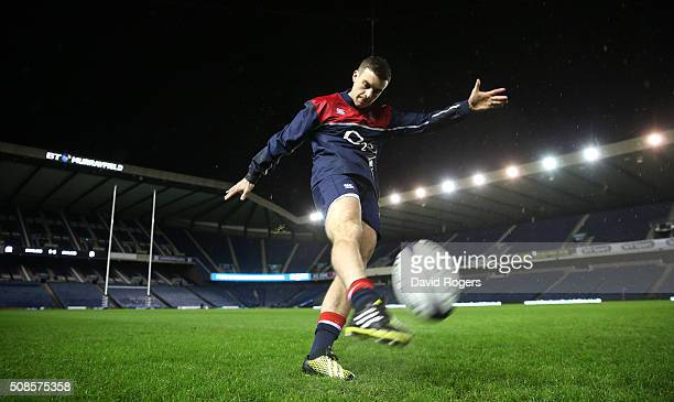 George Ford of England practices his kicking during a pre match visit to Murrayfield Stadium on February 5 2016 in Edinburgh Scotland
