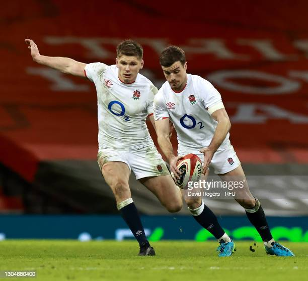 George Ford of England runs with the ball with Owen Farrell in support during the Guinness Six Nations match between Wales and England at...