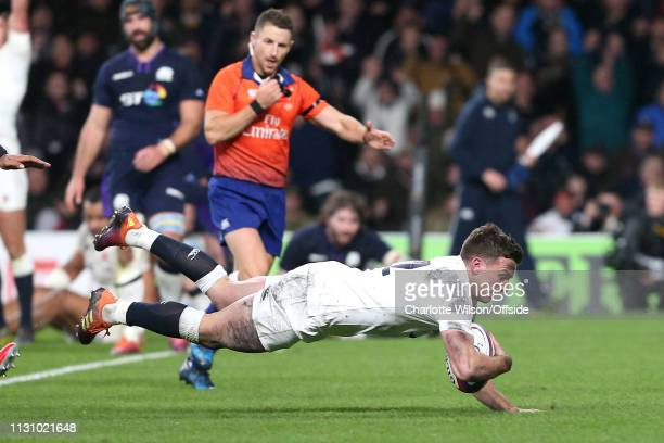 George Ford of England scores a last minute try to equal the score during the Guinness Six Nations Championship match between England and Scotland at...