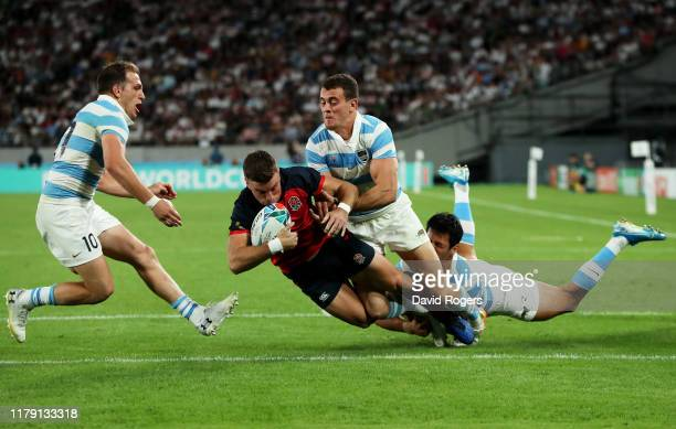 George Ford of England scores his side's fourth try during the Rugby World Cup 2019 Group C game between England and Argentina at Tokyo Stadium on...