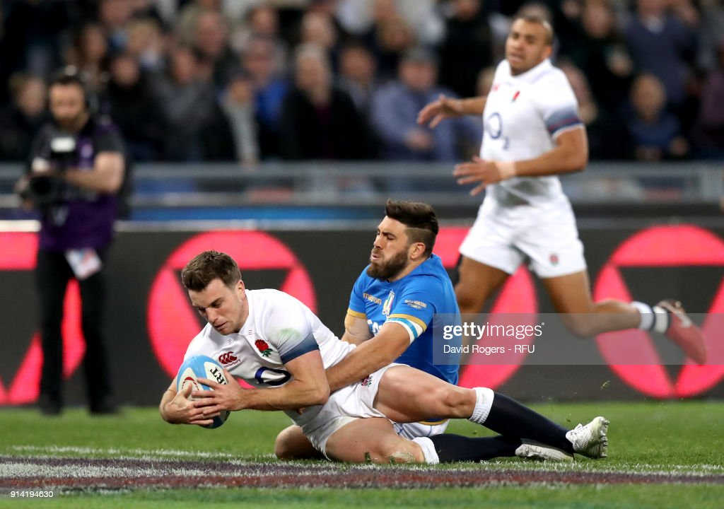 George Ford of England scores his sides sixth try during the NatWest Six Nations round One match between Italy and Engalnd at Stadio Olimpico on February 4, 2018 in Rome, Italy.