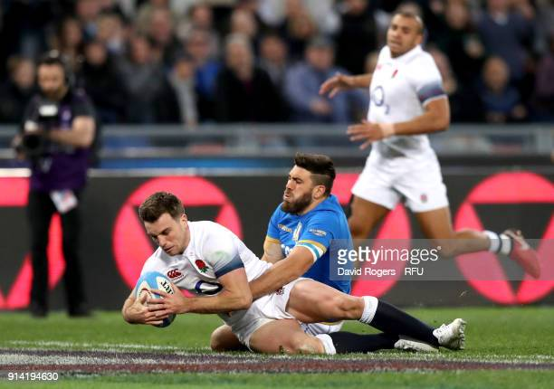 George Ford of England scores his sides sixth try during the NatWest Six Nations round One match between Italy and Engalnd at Stadio Olimpico on...