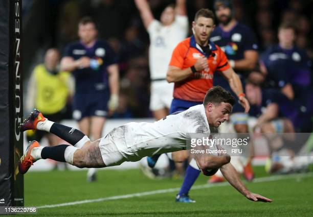 George Ford of England scores his team's fifth try during the Guinness Six Nations match between England and Scotland at Twickenham Stadium on March...