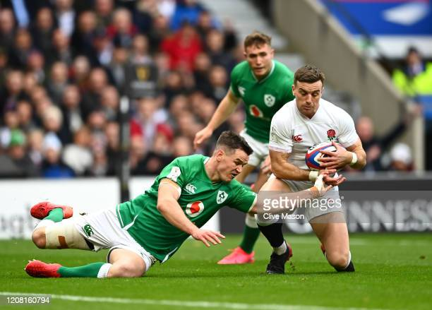 George Ford of England scores his team's first try during the 2020 Guinness Six Nations match between England and Ireland at Twickenham Stadium on...