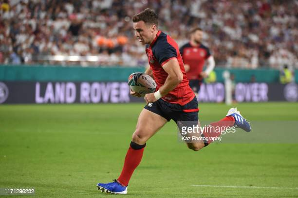 George Ford of England scores the 1st try during the Rugby World Cup 2019 Group C game between England and USA at Kobe Misaki Stadium on September...