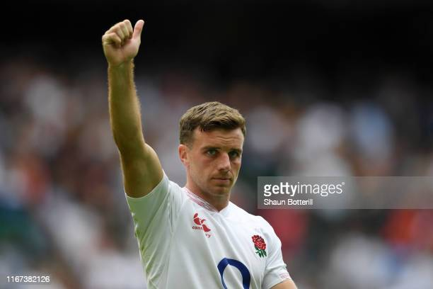 George Ford of England shows appreciation to the fans following victory in the 2019 Quilter International match between England and Wales at...