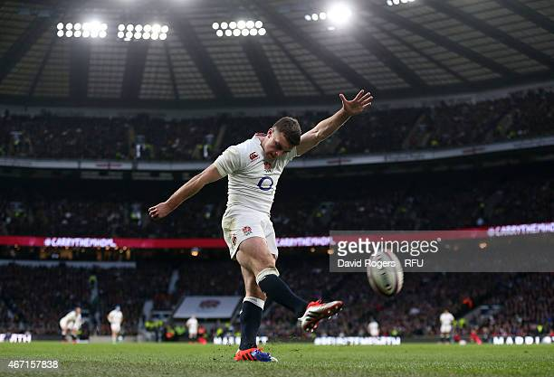 George Ford of England successfully converts his team's first try during the RBS Six Nations match between England and France at Twickenham Stadium...