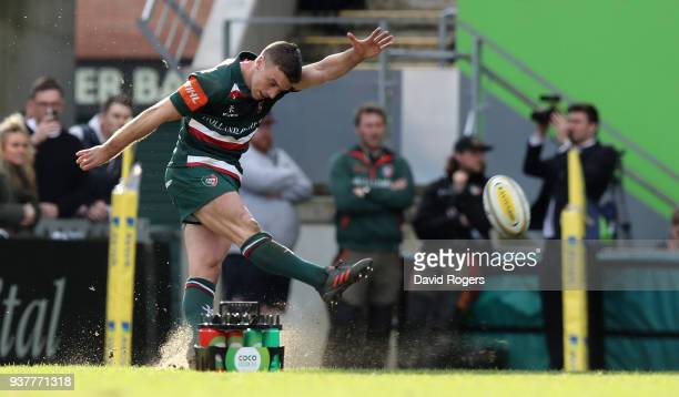 George Ford of Leicester kicks the late match winning penalty during the Aviva Premiership match between Leicester Tigers and Wasps at Welford Road...