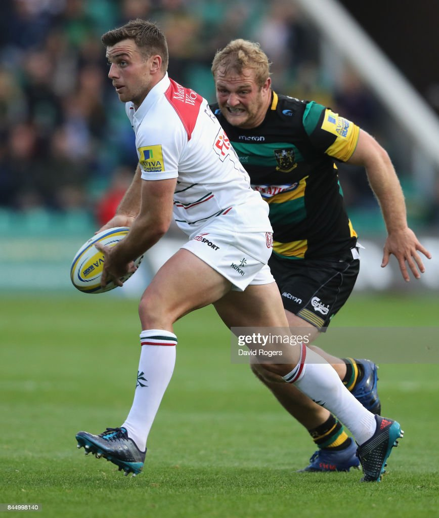George Ford of Leicester passes the ball during the Aviva Premiership match between Northampton Saints and Leicester Tigers at Franklin's Gardens on September 9, 2017 in Northampton, England.