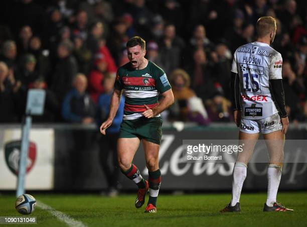 George Ford of Leicester Tigers celebrates after scoring a try during the Gallagher Premiership Rugby match between Leicester Tigers and Gloucester...