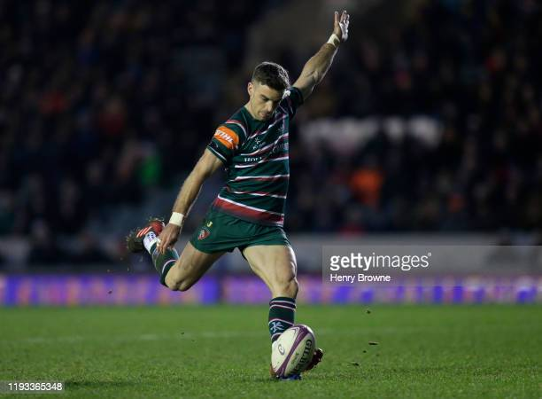George Ford of Leicester Tigers converts a try during the European Rugby Challenge Cup Round 4 match between Leicester Tigers and Cardiff Blues at...