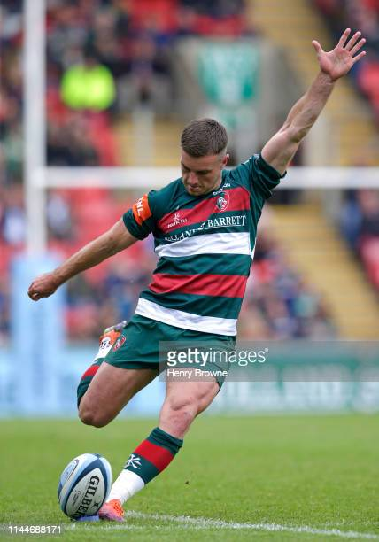 George Ford of Leicester Tigers converts a try during the Gallagher Premiership Rugby match between Leicester Tigers and Bath Rugby at Welford Road...