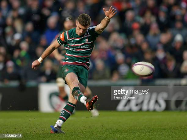 George Ford of Leicester Tigers kicks a penalty during the European Rugby Challenge Cup Round 4 match between Leicester Tigers and Cardiff Blues at...