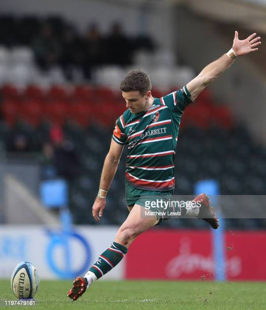 George Ford of Leicester Tigers kicks a penalty during the Gallagher Premiership Rugby match between Leicester Tigers and Bristol Bears at on January...