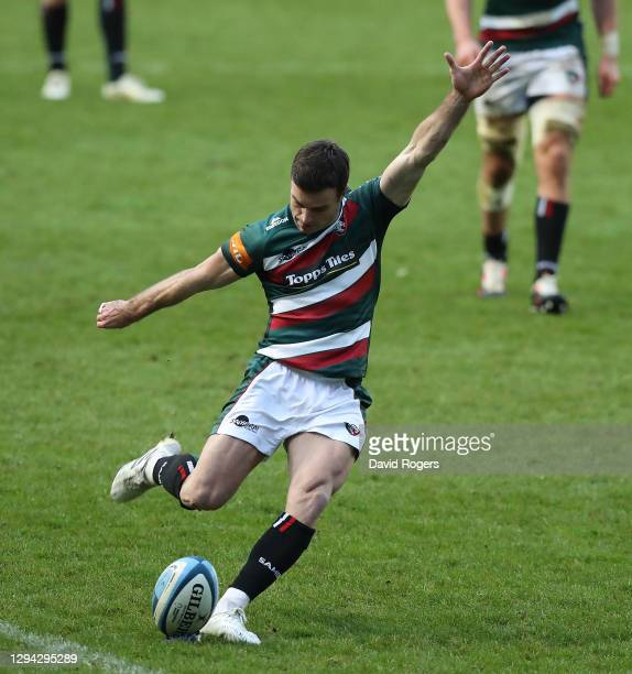 George Ford of Leicester Tigers kicks a penalty during the Gallagher Premiership Rugby match between Leicester Tigers and Bath at Welford Road on...