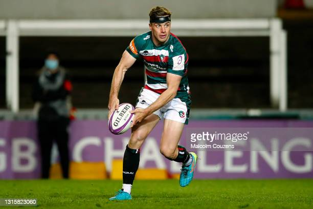 George Ford of Leicester Tigers looks to pass the ball during the European Rugby Challenge Cup match between Leicester Tigers and Ulster Rugby at...