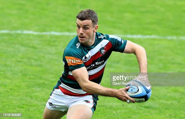 George Ford of Leicester Tigers passes the ball during the Gallagher Premiership Rugby match between Leicester Tigers and Harlequins at Welford Road...