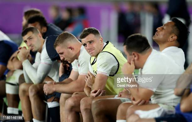 George Ford on the replacement bench looks dejected during the Rugby World Cup 2019 Final between England and South Africa at International Stadium...