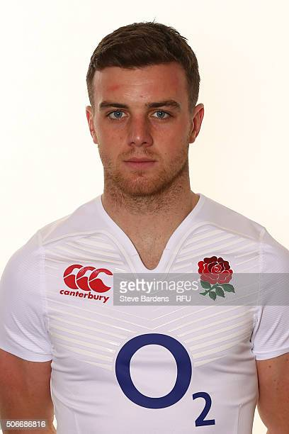 George Ford poses during the England EPS Six Nations Squad Portrait session at Pennyhill Park on January 25 2016 in Bagshot England