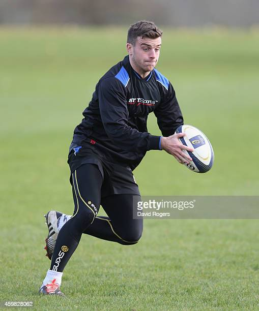George Ford the Bath standoff runs with the ball during the Bath training session held at Farleigh House on December 2 2014 in Farleigh Hungerford...