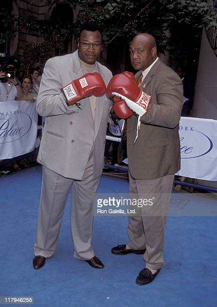 George Foreman and Larry Holmes during George Foreman and Larry Holmes Press Conference July 15 1998 at Palace Hotel in New York City New York United...