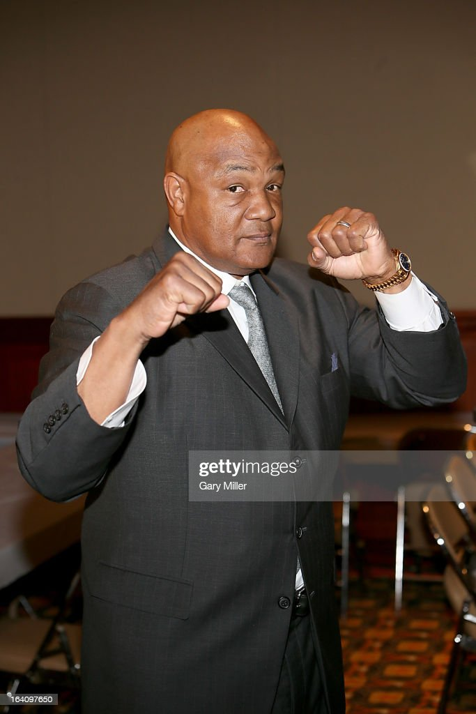 George Foreman attends a news conference announcing the formation of Foreman Boys Promotions which will be run by his sons George Foreman Jr. and George Foreman IV at The Frank Erwin Center on March 19, 2013 in Austin, Texas.