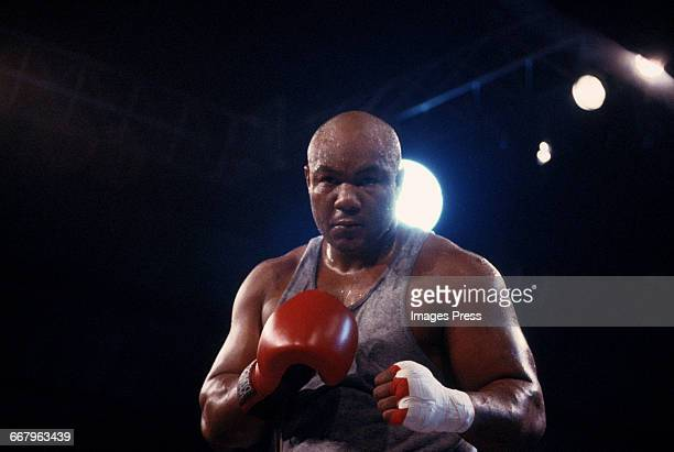 CIRCA 1989 George Foreman attends the Starstudded exhibition fight where Tommy 'The Duke' Morrison demonstrates why Sylvester Stallone cast him for...