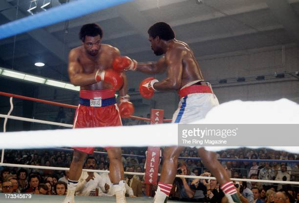 George Foreman blocks the punch from Ron Lyle during the fight at Caesars Palace in Las Vegas, Nevada. George Foreman won the vacant NABF heavyweight...