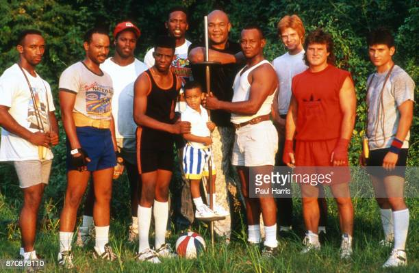 George Foreman, boxer photographed outside Houston at the George Foreman Youth Camp, with some of his team, February 9 Houston, Texas