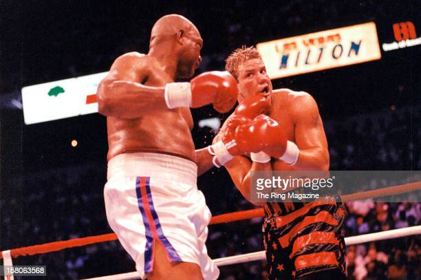 George Foreman connects with a left hook to Tommy Morrison at the Thomas Mack Center on June 71993 in Las Vegas Nevada Tommy Morrison won by a UD 12