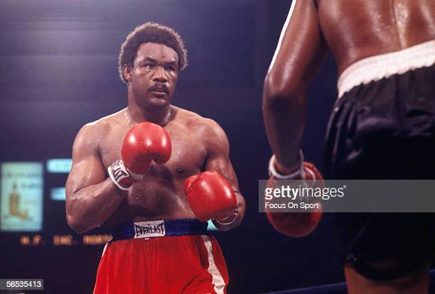 George Foreman eyes his opponent during a boxing match circa the 1970's at the Hotel San Juan.