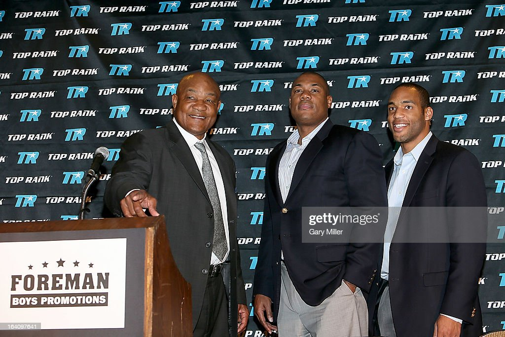 George Foreman, George Foreman Jr. and George Foreman IV attend a news conference announcing the formation of Foreman Boys Promotions which will be run by his sons at The Frank Erwin Center on March 19, 2013 in Austin, Texas.