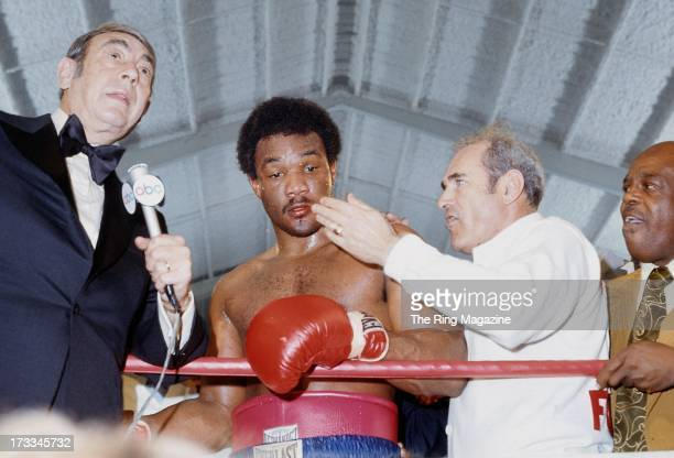 George Foreman is interviewed by Howard Cosell after winning the fight against Ron Lyle at Caesars Palace in Las Vegas Nevada George Foreman won the...