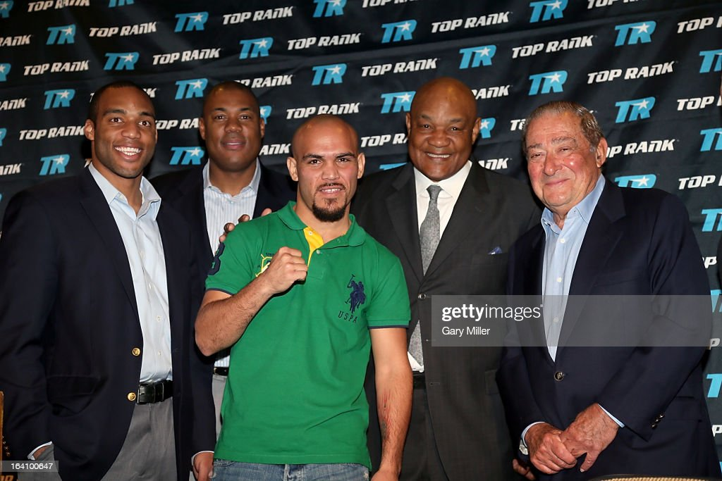George Foreman IV, George Foreman Jr., Raymundo Beltran, George Foreman and Bob Arum attend a news conference announcing the formation of Foreman Boys Promotions at The Frank Erwin Center on March 19, 2013 in Austin, Texas.