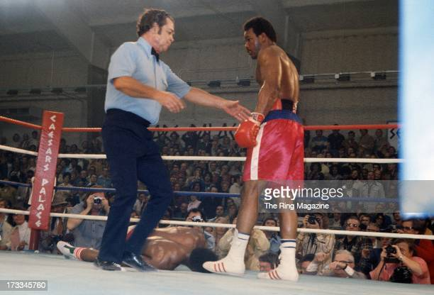 George Foreman knocks out Ron Lyle during the fight at Caesars Palace in Las Vegas, Nevada. George Foreman won the vacant NABF heavyweight title by a...