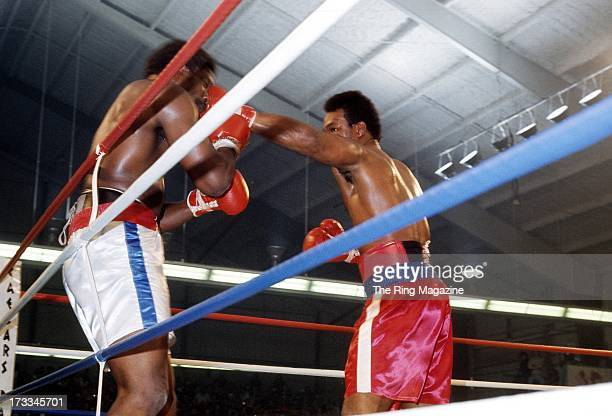 George Foreman lands a punch against Ron Lyle during the fight at Caesars Palace in Las Vegas, Nevada. George Foreman won the vacant NABF heavyweight...