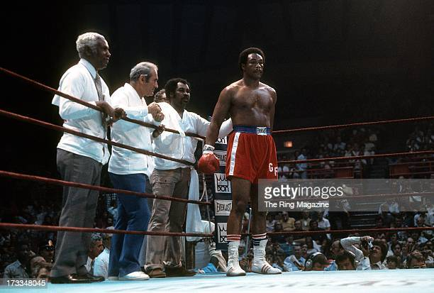 George Foreman waits in his corner during the fight against Scott LeDoux at the Utica Memorial Auditorium in Utica, New York. George Foreman won by a...