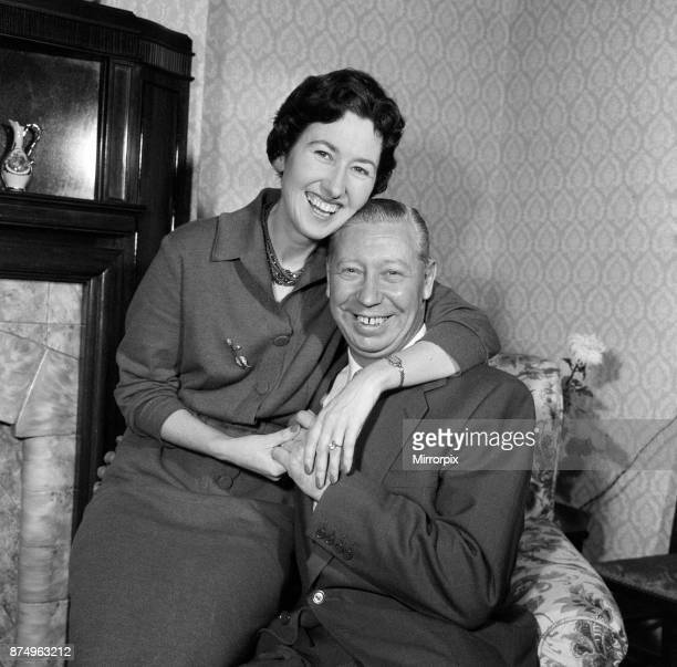 George Formby and fiancee Pat Howsen of Preston pictured at her home last night She is wearing the huge solitaire diamond ring on her engagement...