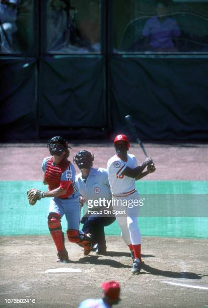 George Foster of the Cincinnati Reds bats against the Philadelphia Phillies during an Major League Baseball game circa 1976 at Riverfront Stadium in...