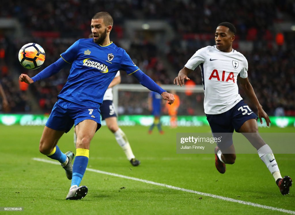 George Francomb of AFC Wimbledon battles with Kyle Walker-Peters of Spurs during The Emirates FA Cup Third Round match between Tottenham Hotspur and AFC Wimbledon at Wembley Stadium on January 7, 2018 in London, England.
