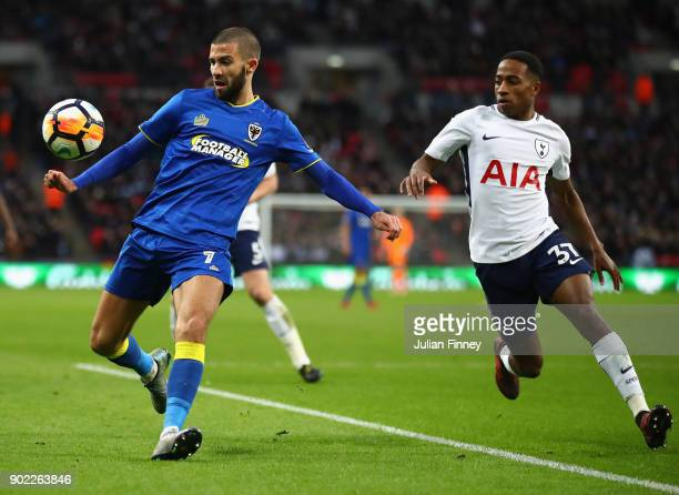 George Francomb of AFC Wimbledon battles with Kyle WalkerPeters of Spurs during The Emirates FA Cup Third Round match between Tottenham Hotspur and...