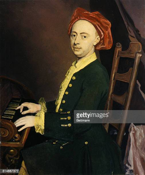 George Frederick Handel , a British composer, at the Clavier. Portrait by Sir J. Thornhill.See PG.11053 FOR B&W