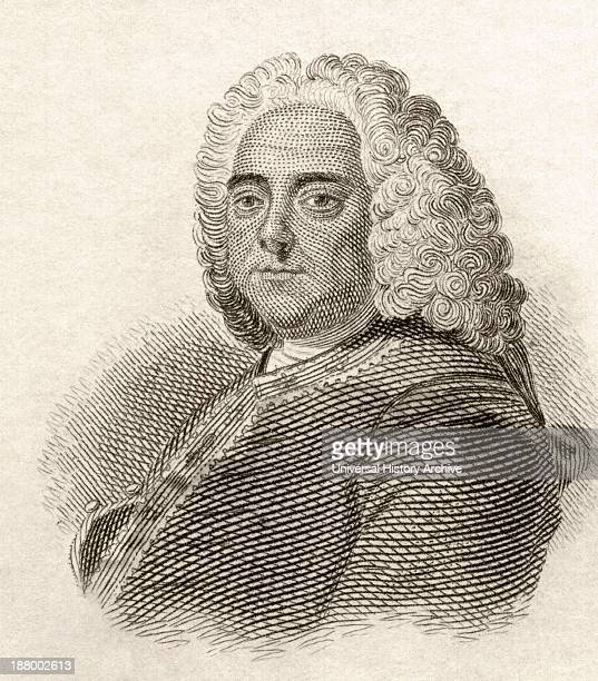 George Frideric Handel, 1685 To 1759. German-British Baroque Composer. From Crabb's Historical Dictionary Published 1825.